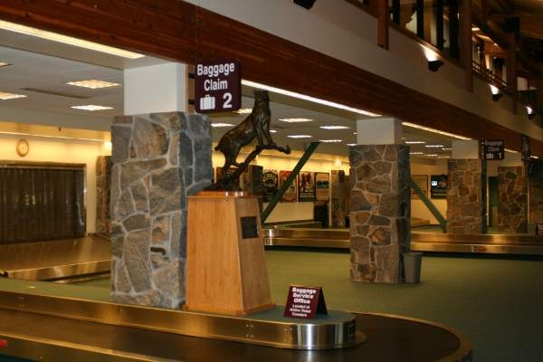 Ticketing lobby at the Bozeman Yellowstone International Airport terminal.