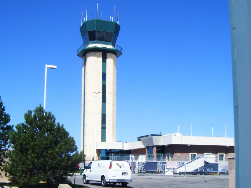 The air traffic control tower at the airport is 120ft-tall. Image courtesy of Bradley Gordon.