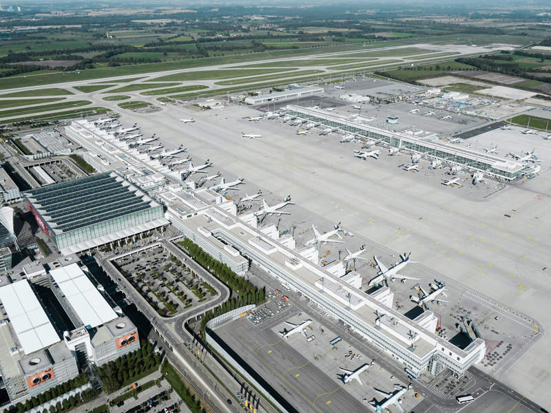 Munich Airport's satellite terminal features 27 aircraft parking locations. Image courtesy of Flughafen München.