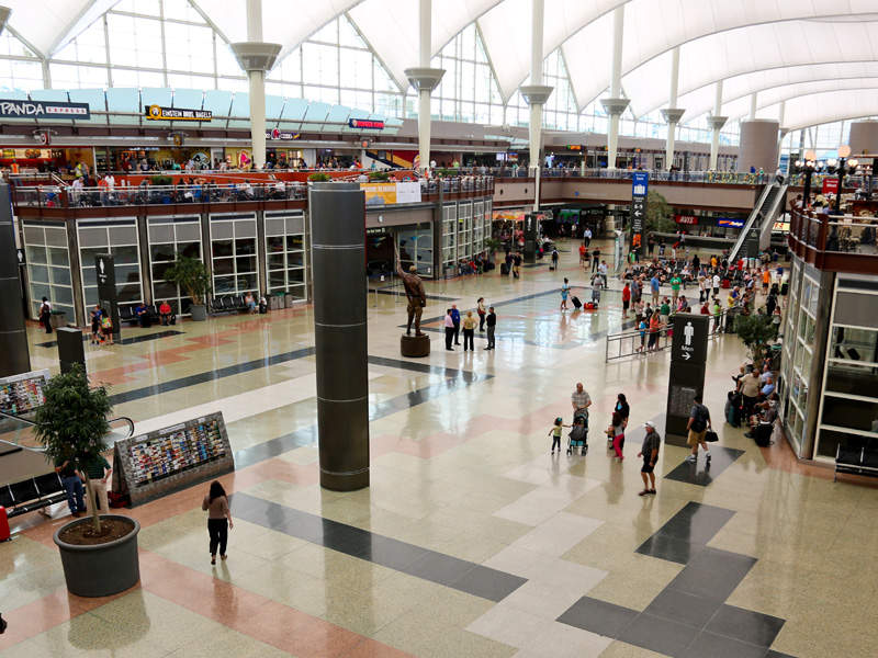 The terminal flooring is composed of a variety of granite stones. Image courtesy of Denver International Airport.
