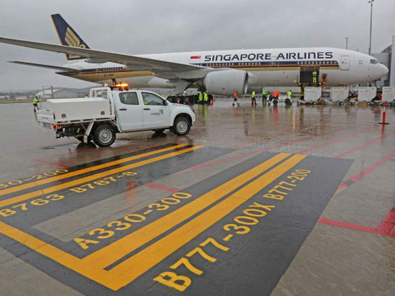 Singapore Airlines' SQ291 was the first airline to commence international operations at the airport in September 2016.  Image courtesy of Capital Airport Group Pty Ltd.