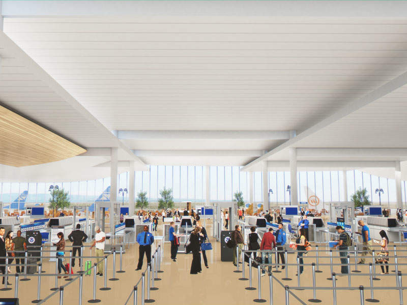 The project will see the addition of new screening lanes in the federal security area. Image: courtesy of Metropolitan Nashville Airport Authority.