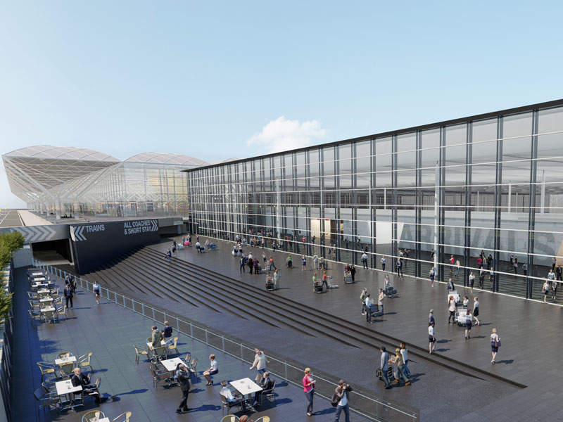The new arrivals building will be located adjacent to the existing terminal and the Radisson Blu Hotel. Image courtesy of The Manchester Airports Group plc.