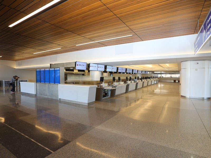A total of 31 new common ticket counters have been added to provide flexibility among airlines operating in the terminal.