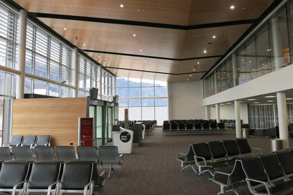 International departures lounge at Queenstown Airport. Image courtesy of CCM Architects.