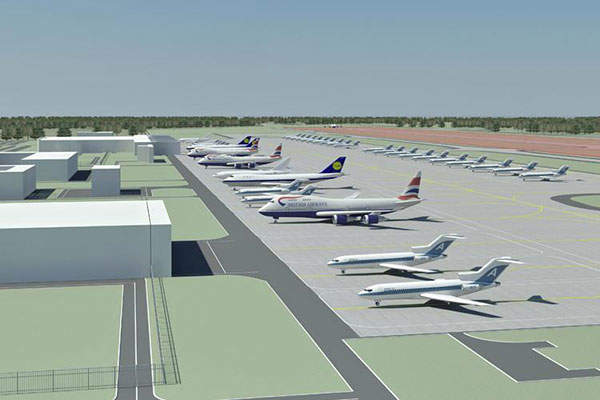 """The new airport will be developed as a class 'B' airfield, with an apron with 45 stands. Image: courtesy of FSUE """"Aeroproject""""."""