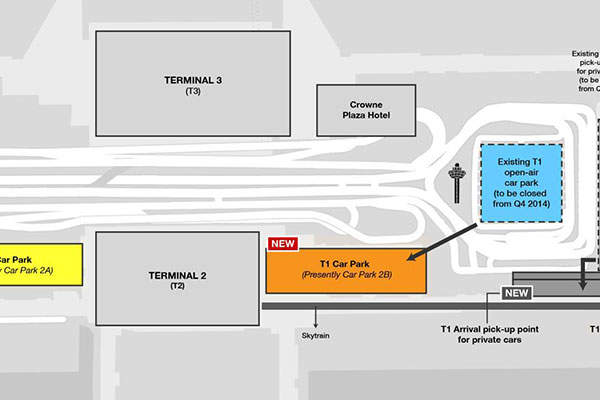 The T1 open-air car park at Changi international airport was closed to accommodate the expansion.
