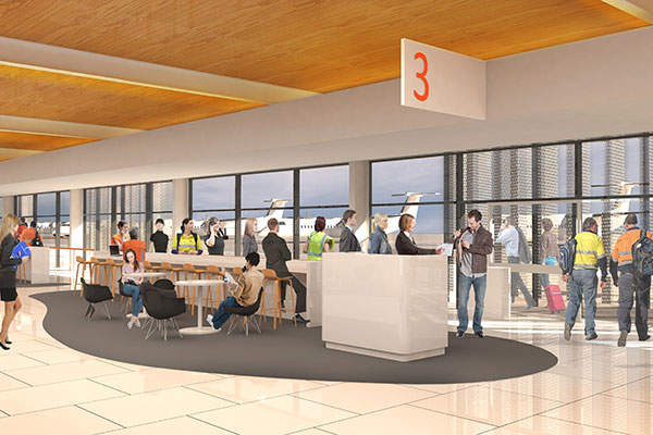 A rendering of the interior boarding gate at the new terminal.