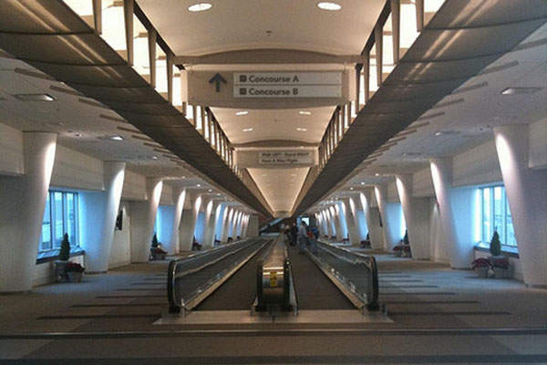 The Airside connector with security check leads to concourses A and B. Image: courtesy of Crimthann Fid-Nemed.