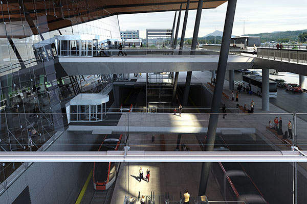 Light rail is integrated into the Terminal 3 at Bergen Airport. Image courtesy of Nordic - Office of Architecture.
