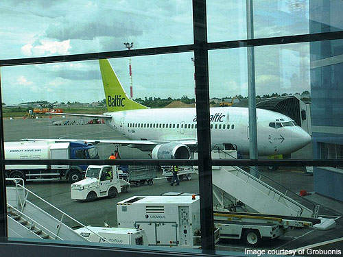 AirBaltic Boeing 737 at Vilnius airport.
