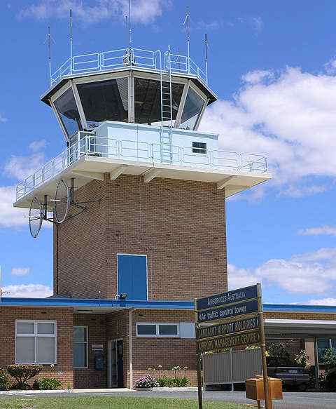 Jandakot airport's air traffic control tower.