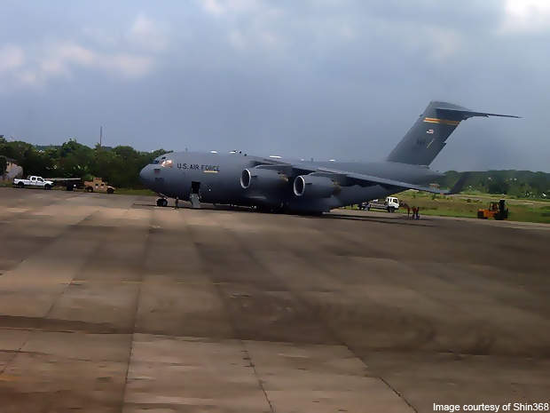 A C17 of the US Air Force parked at Zamboanga International Airport.