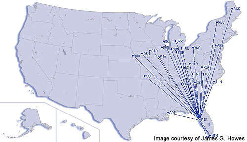 Map showing domestic destinations served by St Petersburg-Clearwater International Airport.