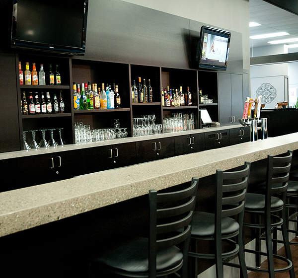 Bistro and Ravens bars at the passenger terminal at Abbotsford International Airport. Image courtesy of Abbotsford Airport Authority.