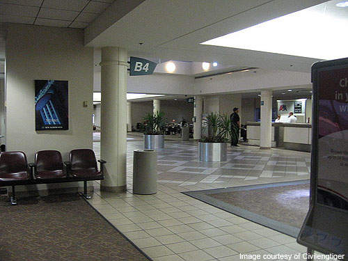 Interior view of Birmingham International Airport Concourse B.
