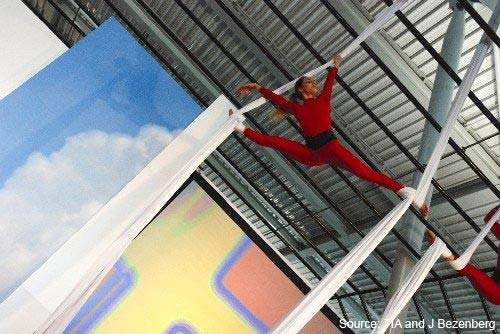 During Tirana International Airport's inauguration ceremony in March 2007 an acrobatic display was given to the 600 guests.