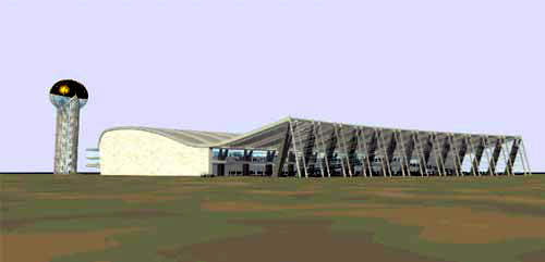 A rendering of the new Dr Babasaheb Ambedkar International Airport terminal.