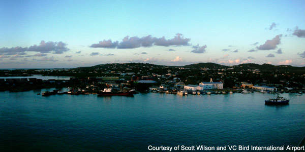 The capital city of Antigua is the Port of St John and the airport is about 8km away.