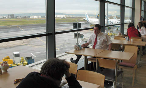 Landside public areas at BCA are spacious and provide views of airport operation.