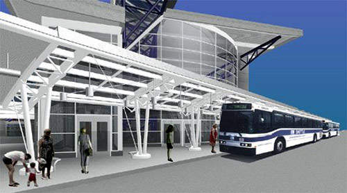 A new airport bus station was constructed to serve the Massport Blue Line services from East Boston to the airport.