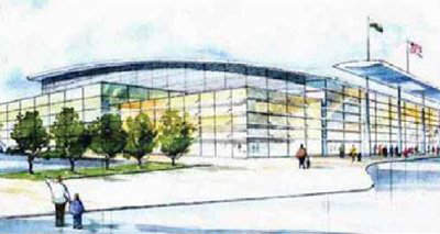 An artist's sketch of the updated terminal of Cardiff International Airport.