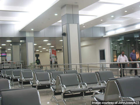 Passenger waiting area near the departure gate of CIAL.