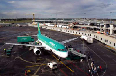 Construction work is underway at the airport, which is still in full operation. When the new terminal is complete, Dublin Airport will have a capacity of 35 million passengers a year and an extra 20 aircraft boarding gates.