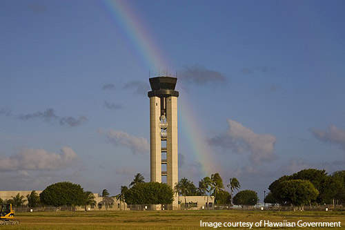 Air traffic control tower at the Honolulu international airport.