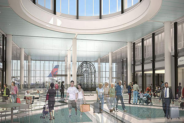 The Central Hall of the terminal features glass walls. Image courtesy of Charleston County Aviation Authority.
