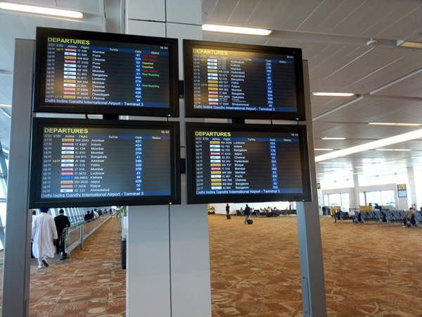 Indira Gandhi International Airport T3 has 168 check-in counters and about 800 flight information display systems. Credit: Ramesh NG.