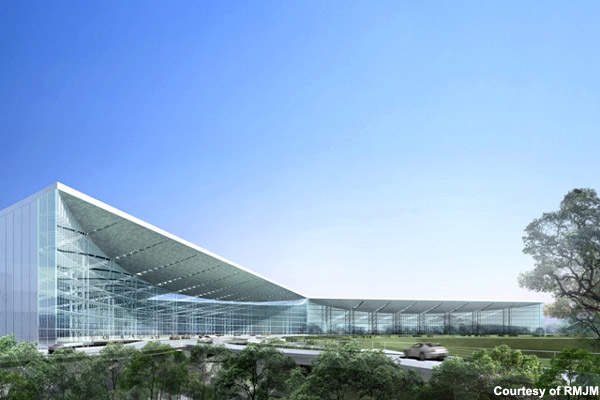 The terminal will have landscaped gardens and will serve to integrate the domestic and international operations of Kolkata airport. Credit: RMJM.