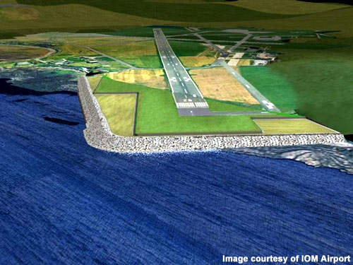 The extension of the main runway will require a reclaimed land area projecting into the sea.
