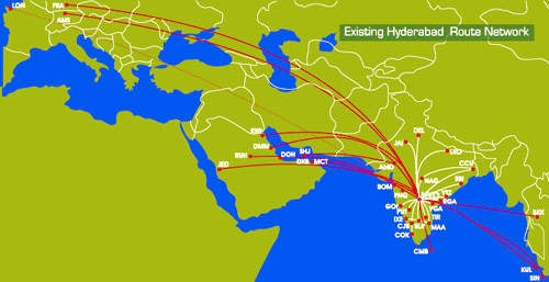 Existing routes from the old Hyderabad Airport which will be transferred to Rajiv Gandhi Airport and further developed.