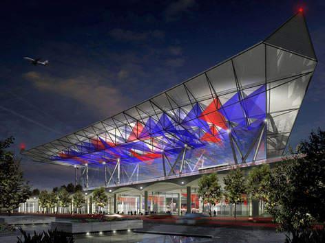 The front of the new Tianjin Binhai Airport terminal.