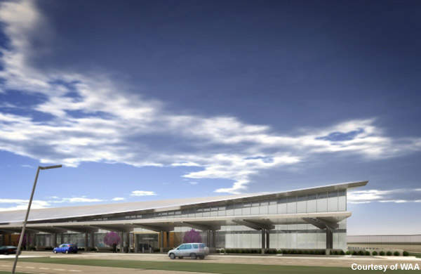 The terminal has 12 gates and boarding bridges, and state-of-the-art security systems.