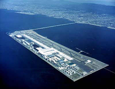 An aerial view of the artifical island on which the Osaka airport is based.