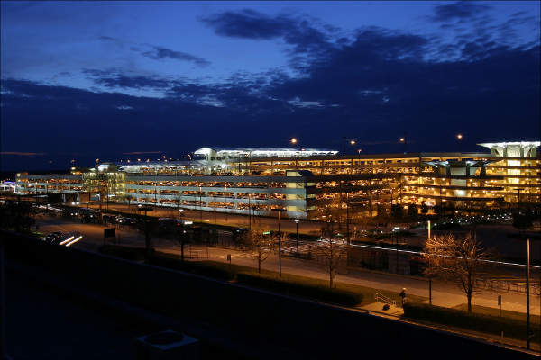 The airport's 11,000 capacity parking garage is situated between Terminals 1 and 2.