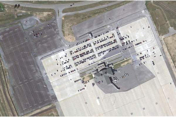 The parking spaces were doubled during the phase 1 of the expansion. Image courtesy of Plattsburgh International Airport.