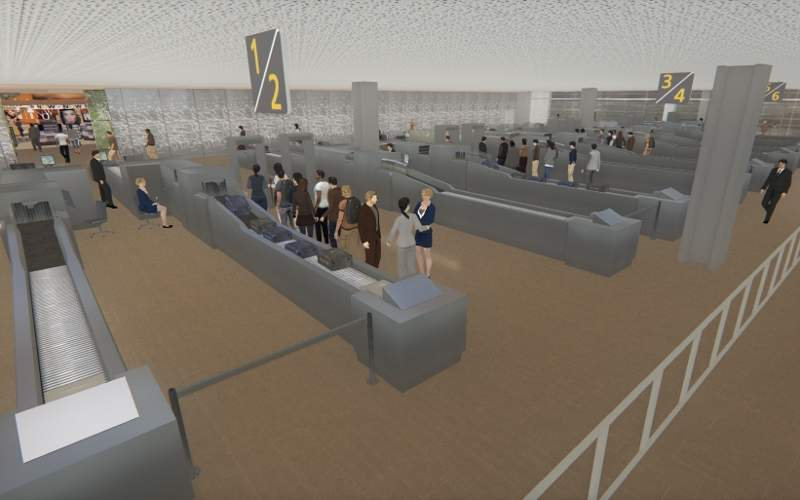 New security checkpoints will be installed in the terminal. Image courtesy of Aéroport Toulouse-Blagnac.
