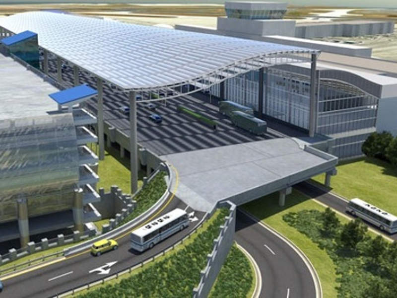 A rendering of the elevated roadway in front of the terminal. Image courtesy of Charlotte Douglas International Airport (CLT).