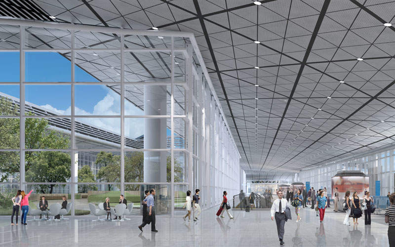 The new concourse will feature modern glass facades. Image courtesy of Hong Kong International Airport.