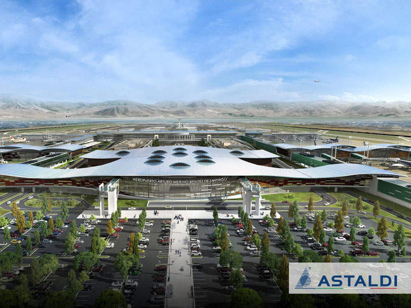 Artist's rendering of the new international passenger terminal of Santiago International Airport. Image: courtesy of Astaldi.