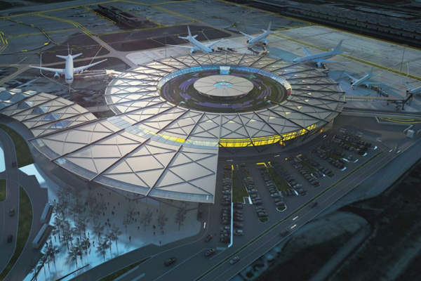 The terminal's design includes a 16m-high, round building.