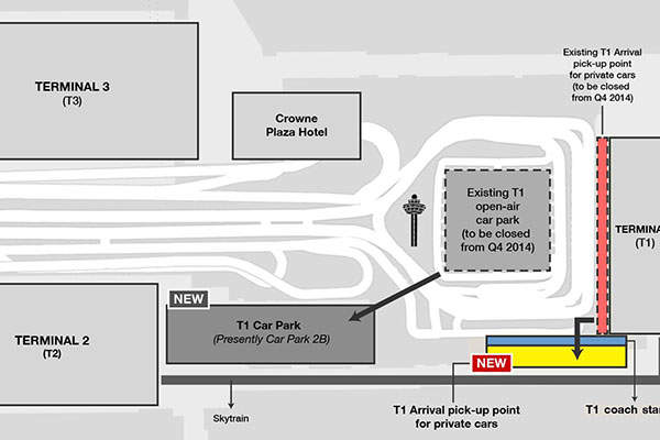 The existing T1 arrival pick-up point for private cars was closed in 2014 to facilitate the T1 expansion.