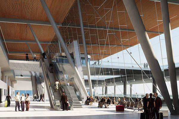 The arrival level at the new terminal building. Image courtesy of Nordic - Office of Architecture.