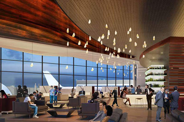 The terminal will provide space for flagship clubrooms for leading airlines. Image: courtesy of Houston Airport System.