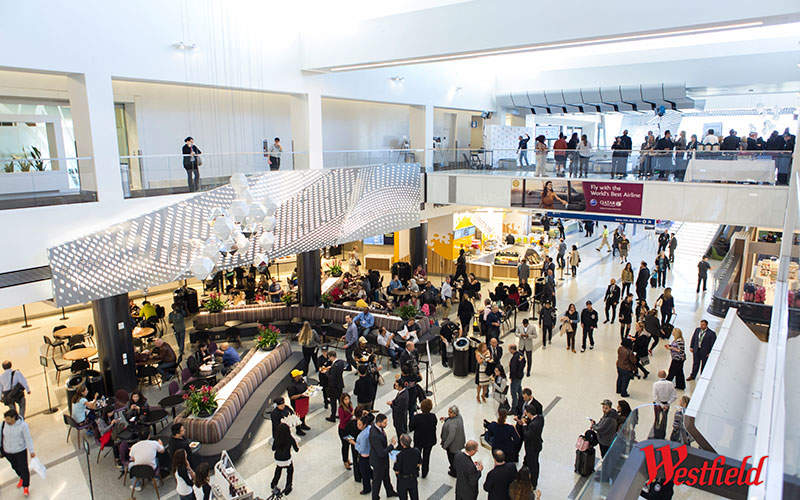 A mezzanine level overlooks the terminal below. Image courtesy of Westfield.