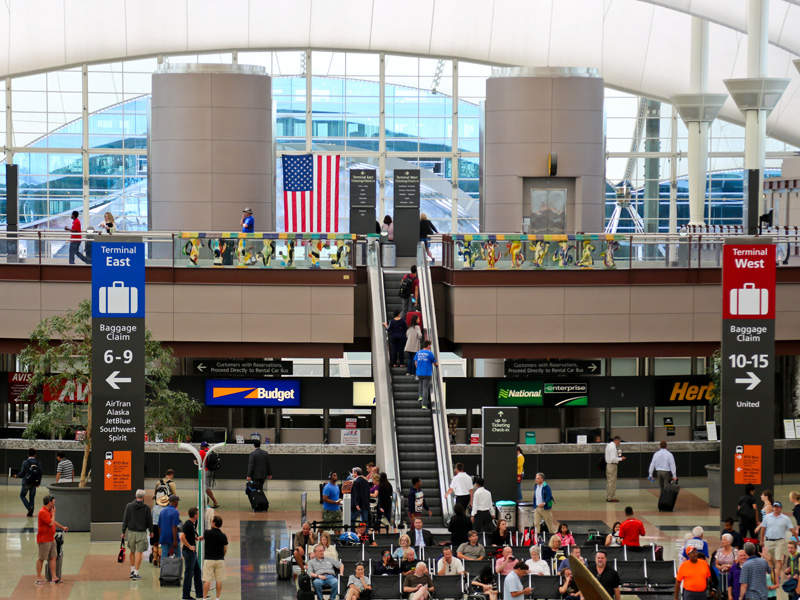 The Jeppesen Terminal has three different traffic levels for passenger convenience. Image courtesy of Denver International Airport.