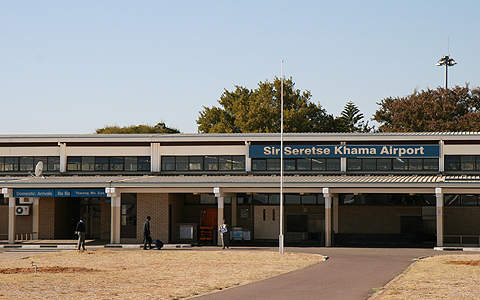 The entrance to the existing terminal at SSKA in Gaborone.